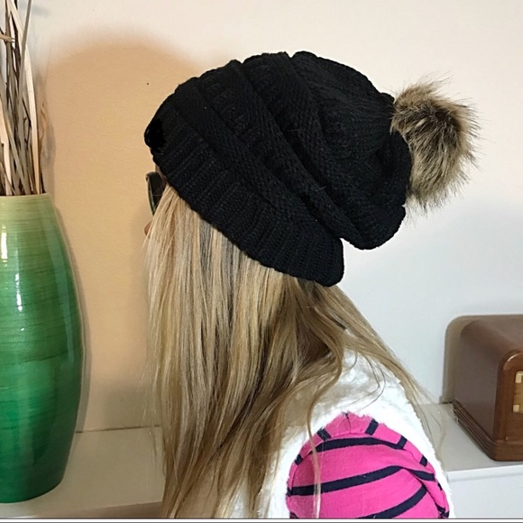 8cf97980d58 Slouchy Black Knit Beanie Faux Fur Pom Pom Lined. Boutique. Pretty Kitty